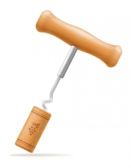 Wooden corkscrew with cork vector illustration