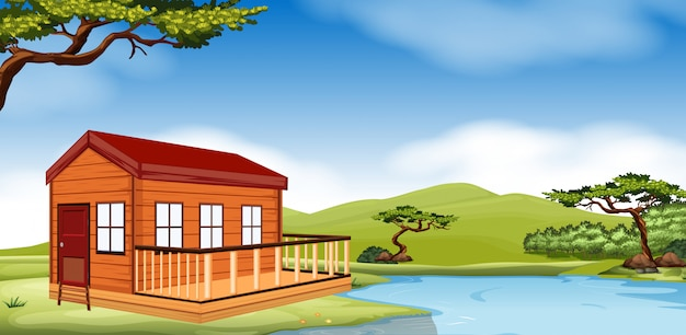 Wooden cottage by the river