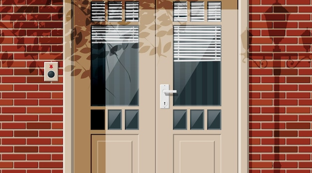 Wooden cottage door with windows and window blind on street