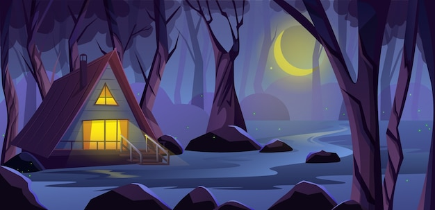 Wooden cottage house in the night forest, on the edge of a swamp. deep forest with scary trees.