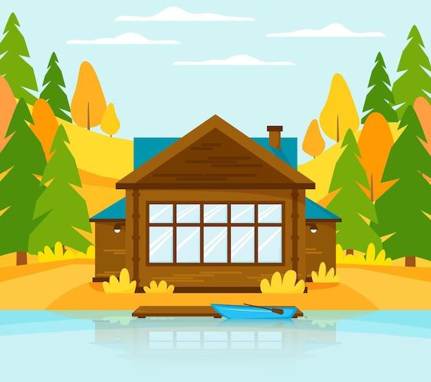 湖または川の桟橋とボートにある木造のコテージ丘と森のある秋の風景の家