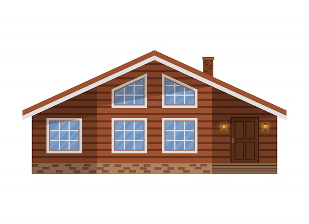 Wooden country brown house, cottage, chalet, villa, isolated on white