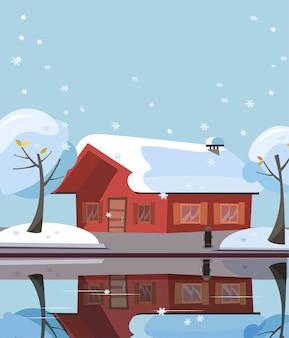 湖の木造カントリーハウス。建物のファサードは水の鏡面に反映されます。民家、雪に覆われた木と冬の郊外のランドスケープのフラット漫画イラスト。テキストの無料スペース