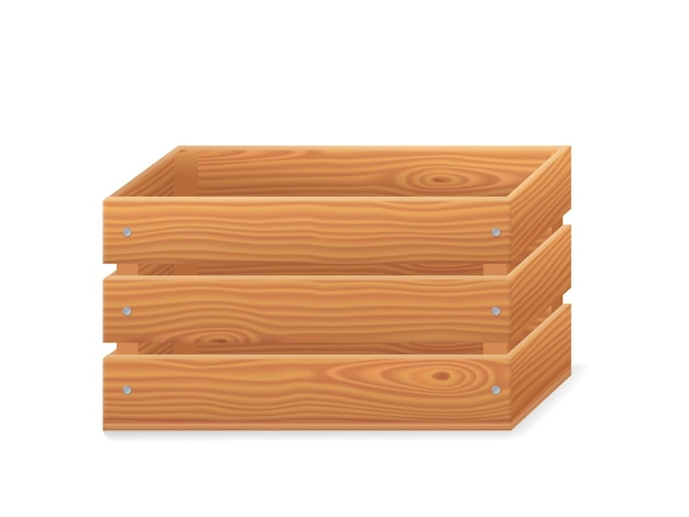 Wooden crate, 3d garden box for fruits and vegetables. basket from brown timber for harvest in front view. vector realistic empty wood crate isolated on white background