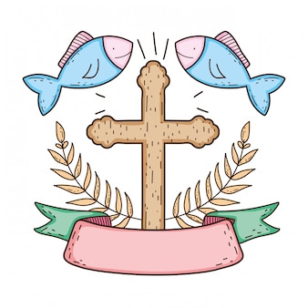 Wooden cross with fishes
