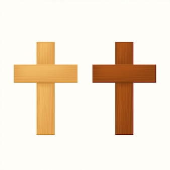 Wooden crosses on white background