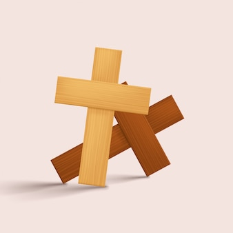 Wooden crosses with shadows on bright