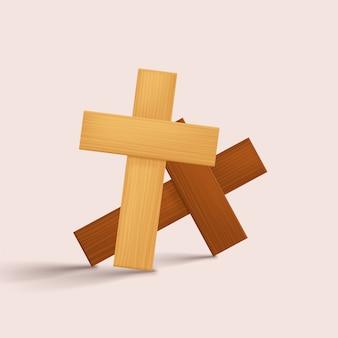 밝은 그림자와 나무 십자가