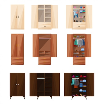 木製食器棚分離漫画アイコン。ワードローブのベクトルイラストルーム家具。ベクトル漫画は、アイコンルームの食器棚を設定します。
