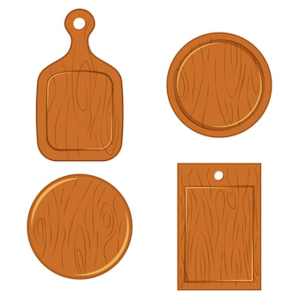 Wooden cutting board of different shapes top view.  flat icons set isolated on white background.