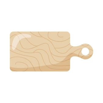 白い背景の上に分離された木製のまな板。ベクトルイラスト