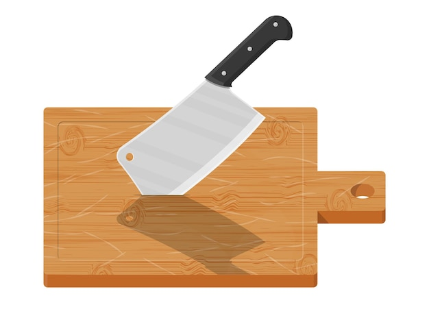 Wooden cutting board and kitchen knife