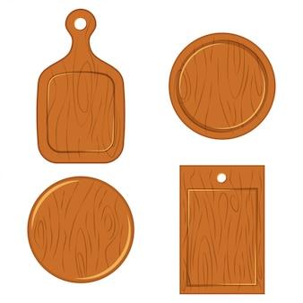 Деревянная разделочная доска различных форм вид сверху. набор плоских иконок на белом фоне.