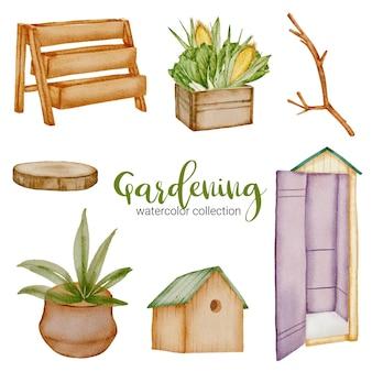 나무 도마, 선반, 식물 냄비, 야채 상자, 가지, 장비, 상점 및 새 집, 정원 테마에 수채화 스타일의 원예 개체 세트.