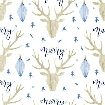 木製の鹿とクリスマスのレタリング水彩シームレスパターン
