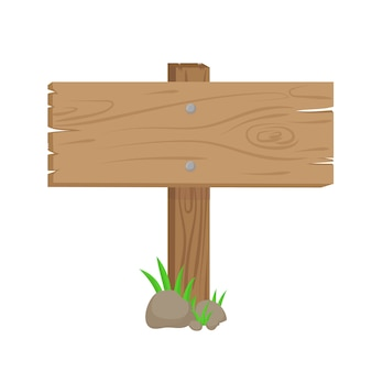Wooden direction sign with green grass and rocks