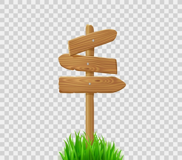 緑の芝生のポストに木製の方向標識。芝生やフィールドに木製の矢印の看板。透明な背景で隔離の田舎道や野外道路のベクトル現実的な古い木材道標