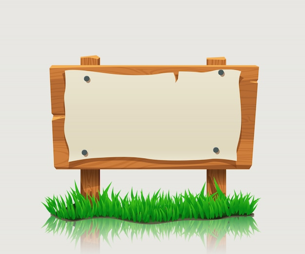 Wooden directional sign with grass
