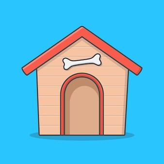 Деревянный домик собаки и кость. квартира для собак
