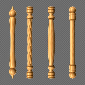 나무 문 손잡이, 기둥 및 꼬인 손잡이 바 모양