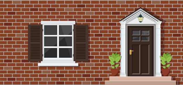 Wooden door of house front view
