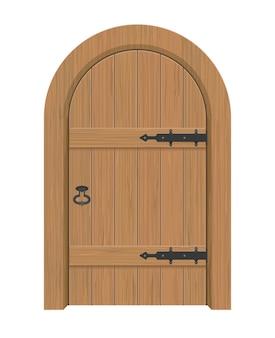 Деревянная дверь, внутренняя дверь квартиры закрытая с железными петлями
