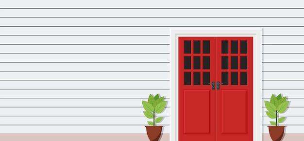 집 전면 보기의 나무 문