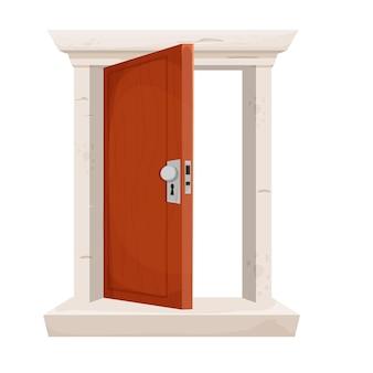 Деревянная дверь открыта в мультяшном стиле каменная дверная коробка входа