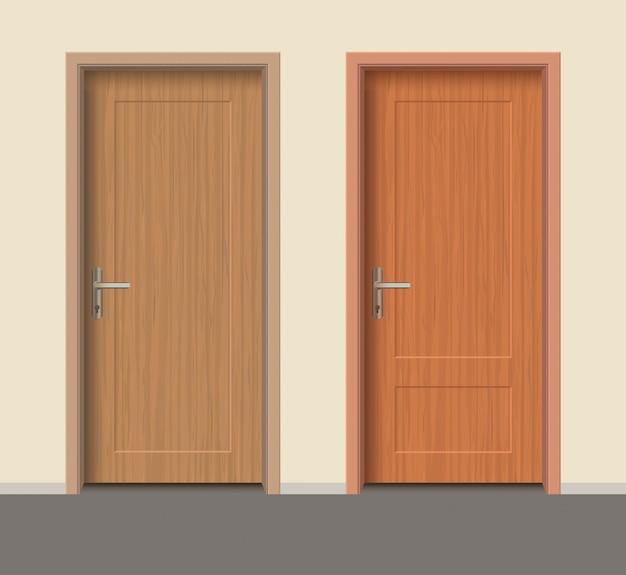 Wooden door set, interior apartment closed door with iron hinges