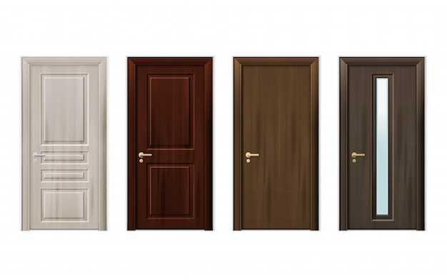 Wooden doors design icon set