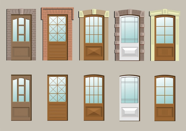 Wooden doors in the wall in vector graphics.