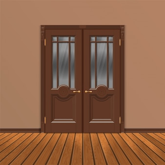 Wooden double entrance door vector
