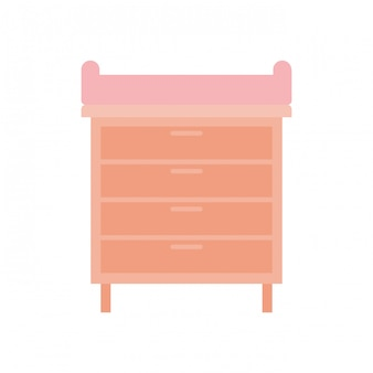 Wooden drawer isolated icon vector illustration