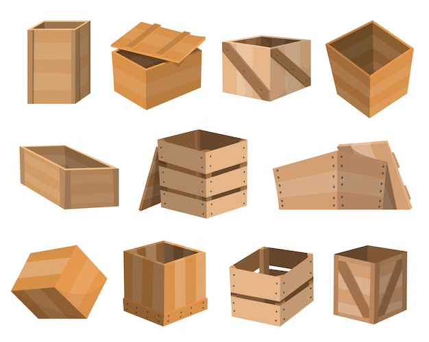 Wooden drawers. boxs package. wooden empty drawers and packed boxes or packaging crates. containers for delivery or shipping set. illustration isolated on white background