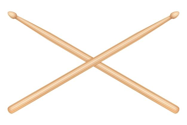 Деревянные барабанные палочки, изолированные на белом фоне