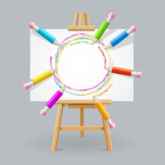 Wooden easel and canvas with pencils