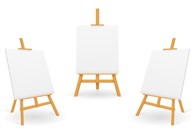 Wooden easel for painting and drawing with a blank sheet of paper template