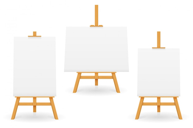 Wooden easel for painting and drawing with a blank sheet of paper