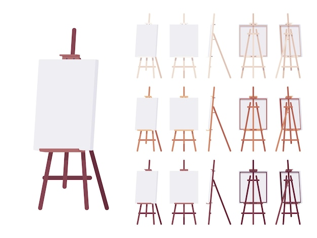 Wooden easel stand set with empty white canvas