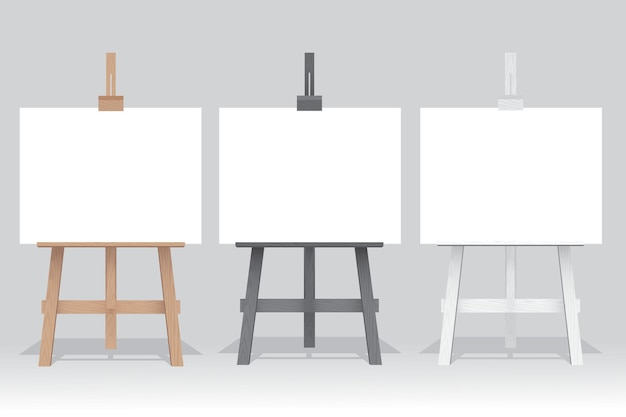 Wooden easel stand with blank canvas on white background