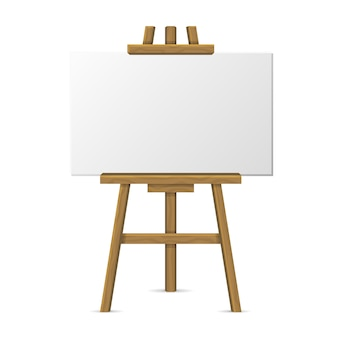 Wooden easel with blank canvas on white background.