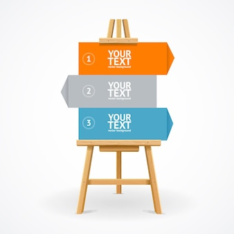 Wooden easel with canvas for business presentation, lecture, speech.