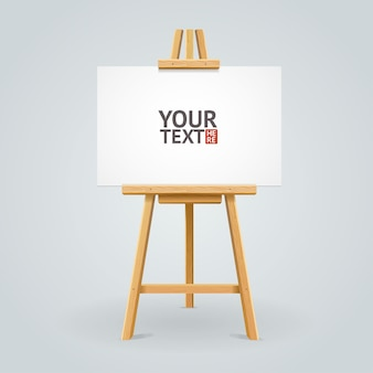 Wooden easel with empty canvas mockup