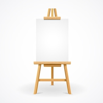 Wooden easel with empty canvas