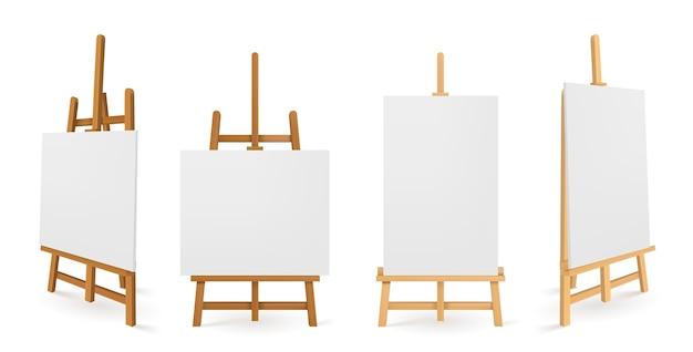 Cavalletti in legno o tavole da pittura con vista frontale e laterale in tela bianca.