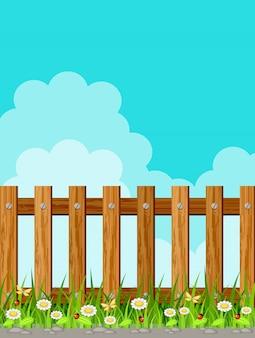 空に対して木製のフェンス