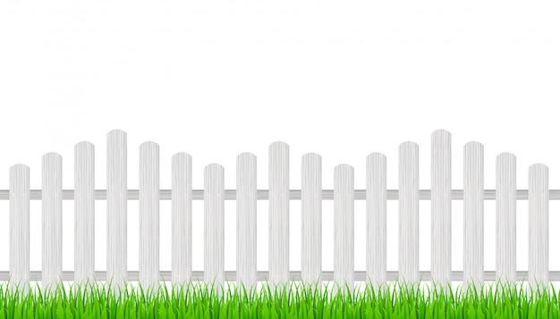 木製のフェンスと草。図。