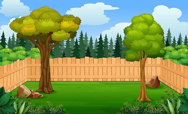 뒤뜰 그림에 나무 울타리와 나무