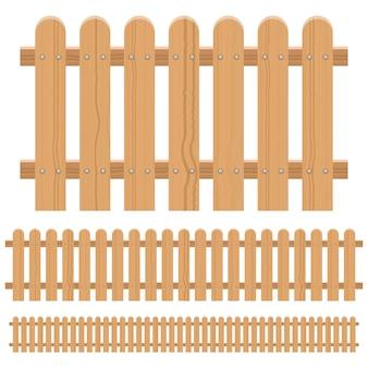 白い背景に分離された木製のフェンスの設計図