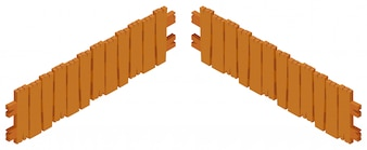Wooden fence design on white background